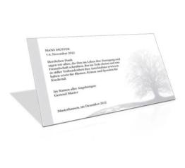 Danksagung Todesfall  Baum mit Trauerrand Grau