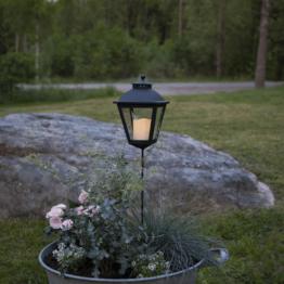 """LED Grablaterne/Grablicht """"Serene"""" mit Stab - warmweiße LED - H: 85cm, D: 15,5cm - Timer - schwarz"""