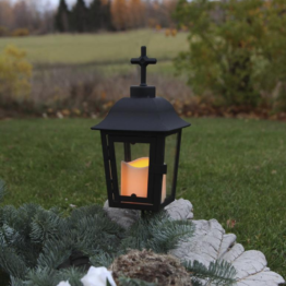 LED Laterne/Grablicht inkl. Kerze - 2 wechselbare Spitzen - Erdspieß - Dämmerungssensor - schwarz