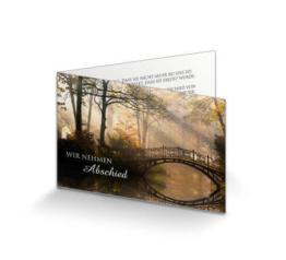 Trauerkarte Brücke im Morgenlicht