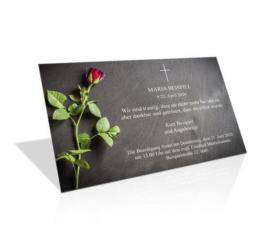 Trauerkarte Rote Rose