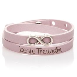 Lederarmband rosa doppelt mit Infinityperle und deiner Wunschgravur!