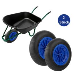 2Pc Schubkarrenrad Vollgummireifen PU-Reifen PP Kunststoff Räder 3.50-8 Rad Blau
